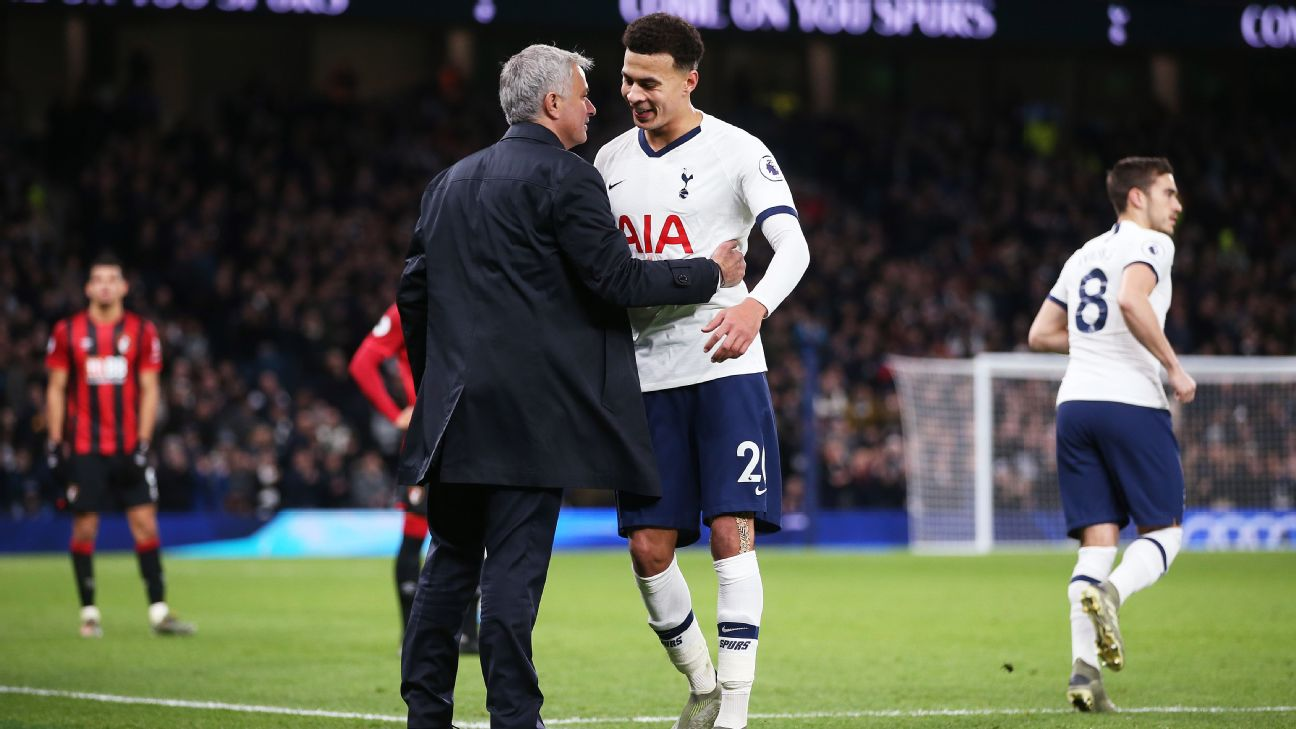 Jose Mourinho congratulates Dele Alli as he leaves the field during Tottenham's win over Bournemouth.