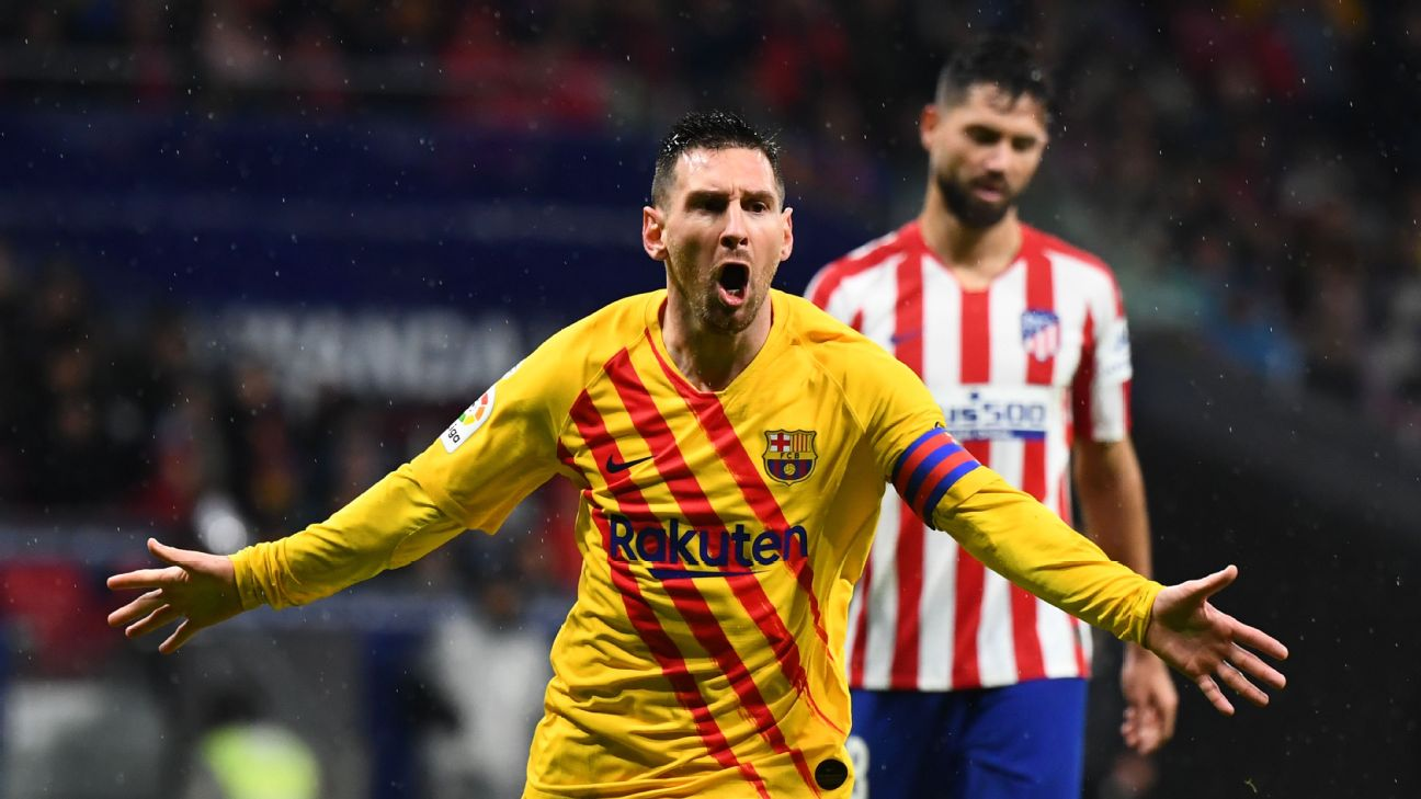 Lionel Messi reacts after scoring in Barcelona's La Liga win at Atletico Madrid.
