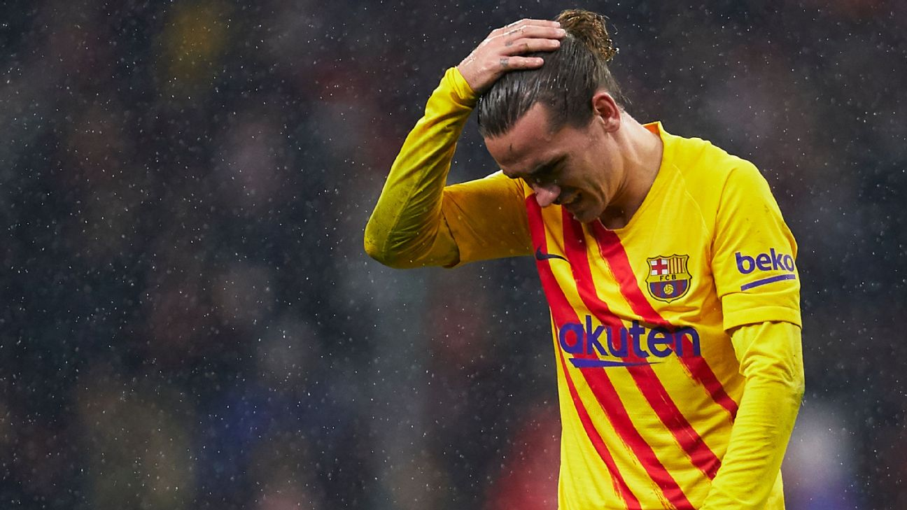 Antoine Griezmann reacts during Barcelona's La Liga win at Atletico Madrid.