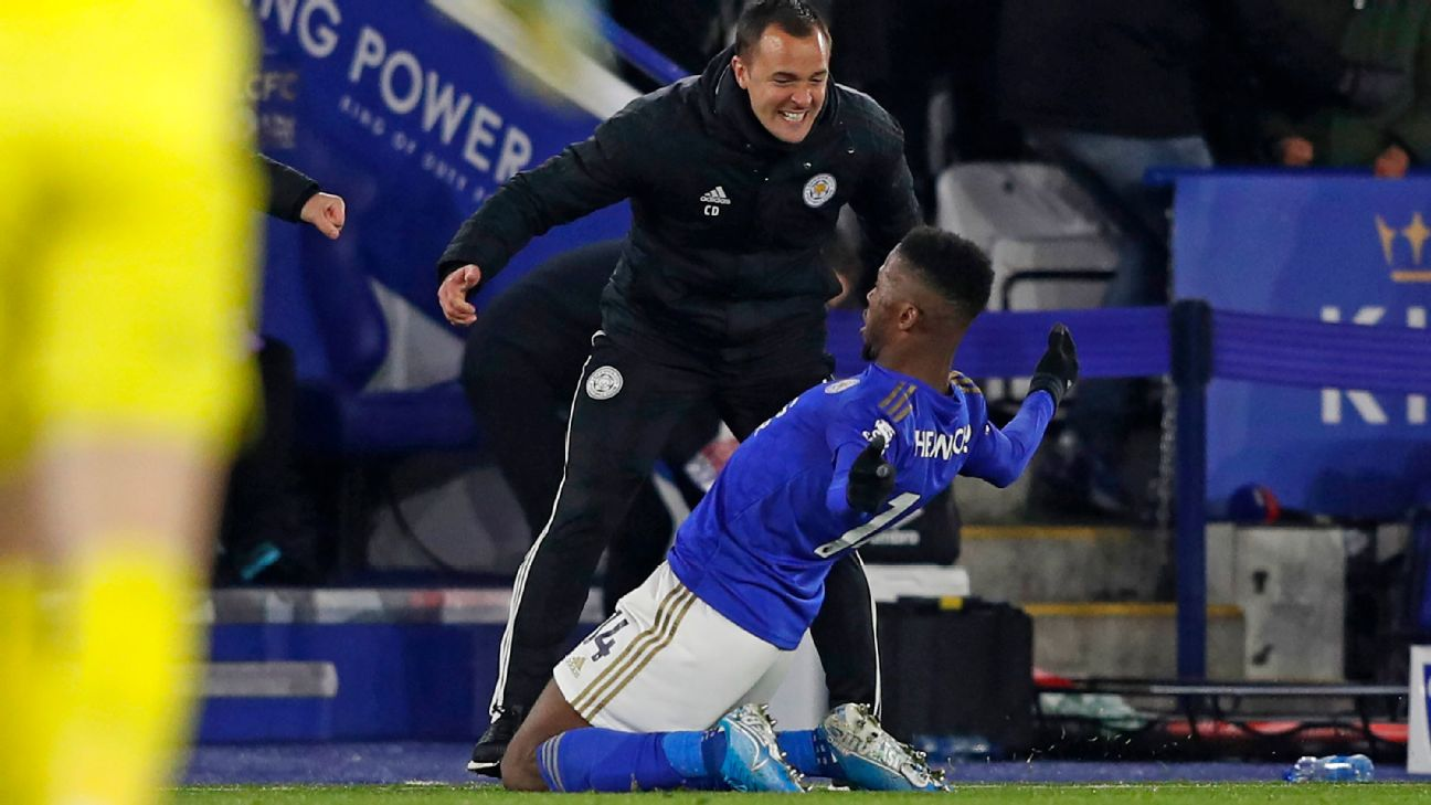 Kelechi Iheanacho celebrates what was eventually awarded as the dramatic late match winner for Leicester City vs. Everton in the English Premier League.