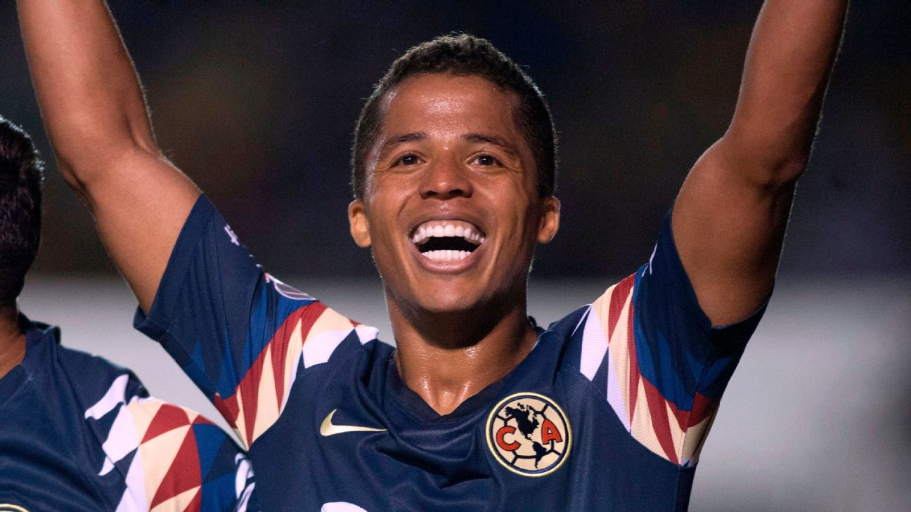 Giovani dos Santos celebrates during Club America's Liga MX playoff match against Tigres.