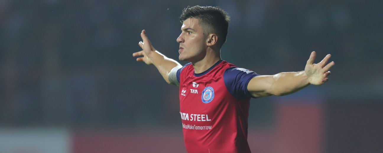 Sergio Castel celebrates a goal against NorthEast United FC.