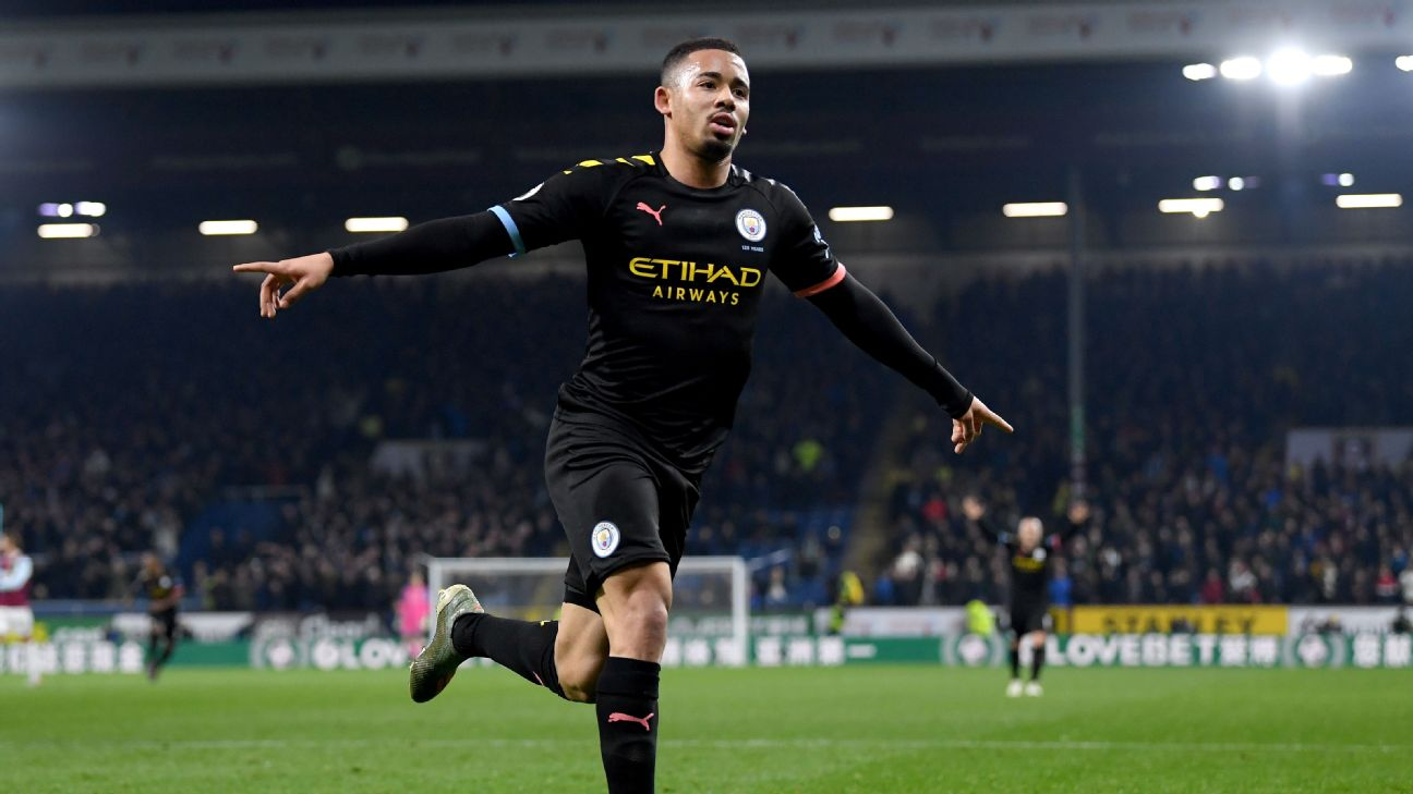Gabriel Jesus celebrates after scoring in Manchester City's Premier League match at Burnley.