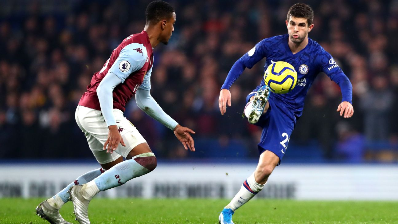 Christian Pulisic makes a move in Chelsea's Premier League match against West Ham.