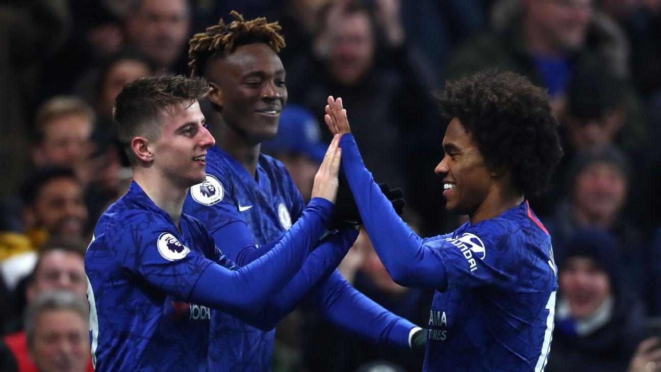 Chelsea players celebrate after Mason Mount scored a goal against Aston Villa in the Premier League.
