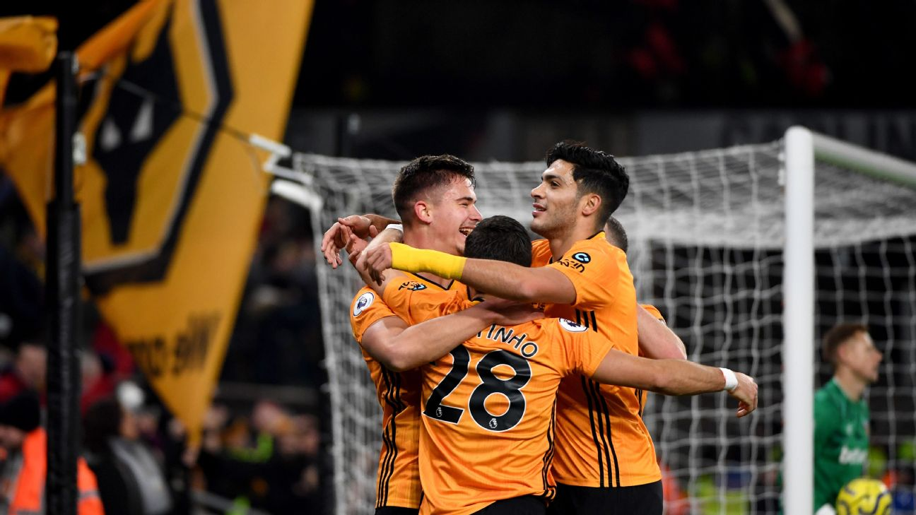 Wolves players celebrate after scoring a goal against West Ham in the Premier League.