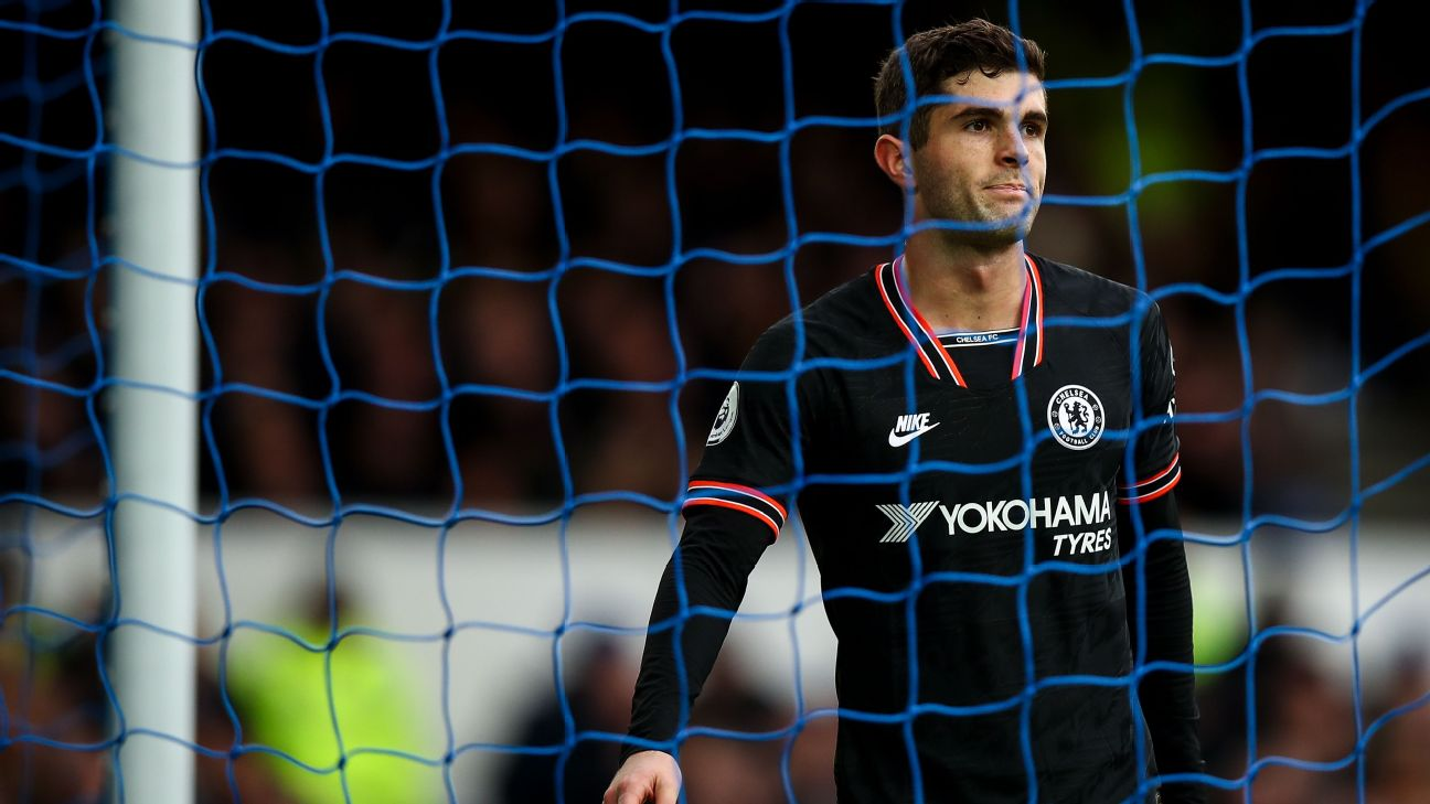 Christian Pulisic of Chelsea during the Premier League match between Everton FC and Chelsea FC