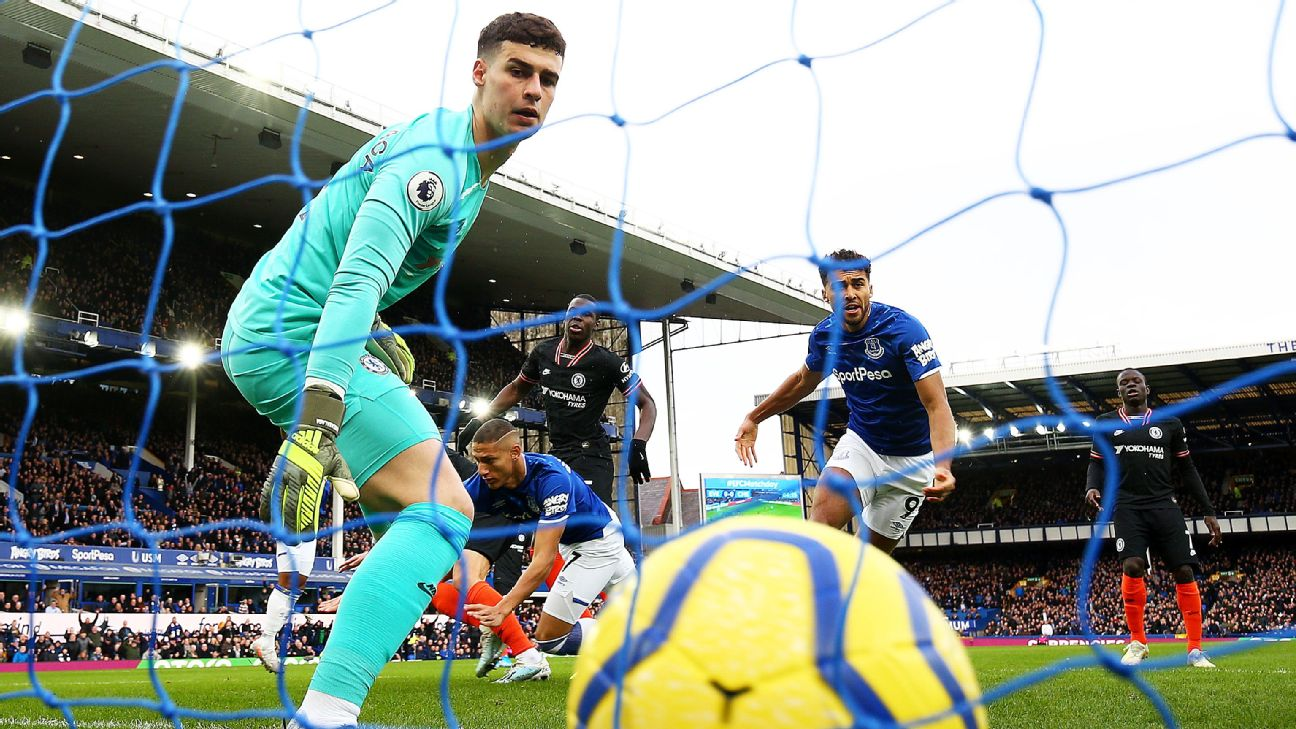Kepa Arrizabalaga of Chelsea looks on as Richarlison of Everton (not pictured) scores