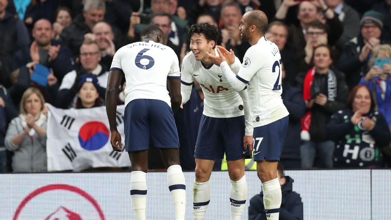 Heung-Min Son of Tottenham Hotspur celebrates after scoring his team's third goal