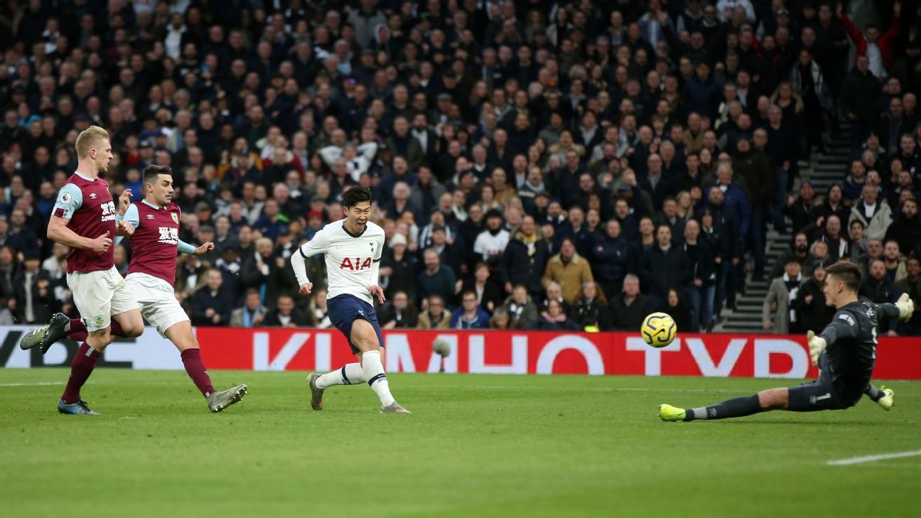 Heung-Min Son of Tottenham Hotspur scores his team's third goal