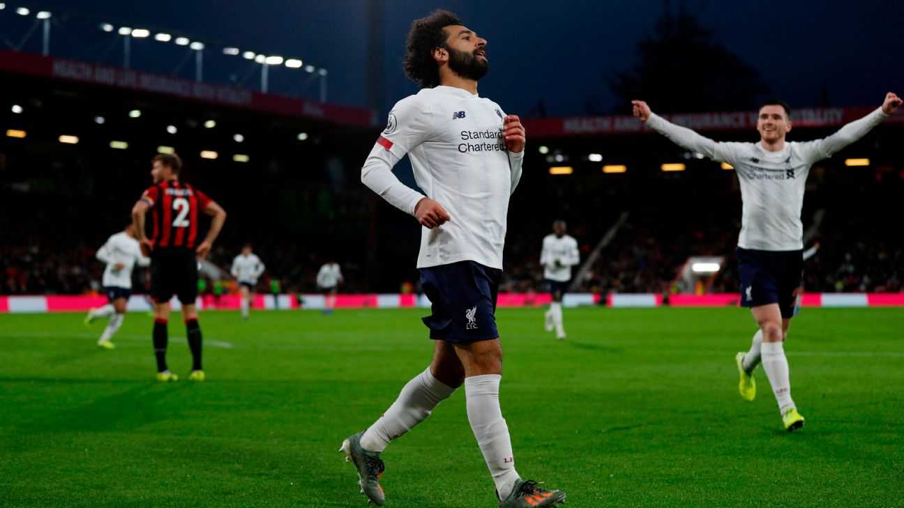 Mohamed Salah celebrates after scoring in Liverpool's Premier League match at Bournemouth.