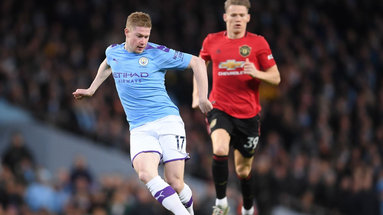 Kevin De Bruyne dribbles the ball during Manchester City's Premier League match against Manchester United.