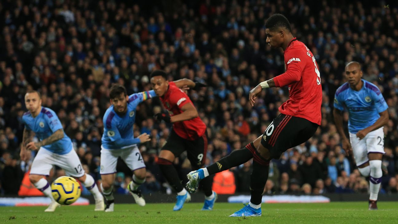 Marcus Rashford scores a penalty in Manchester United's Premier League match at Manchester City.