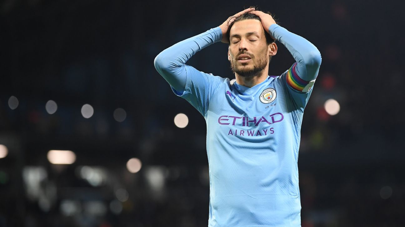 David Silva looks on during Manchester City's Premier League defeat to Manchester United.