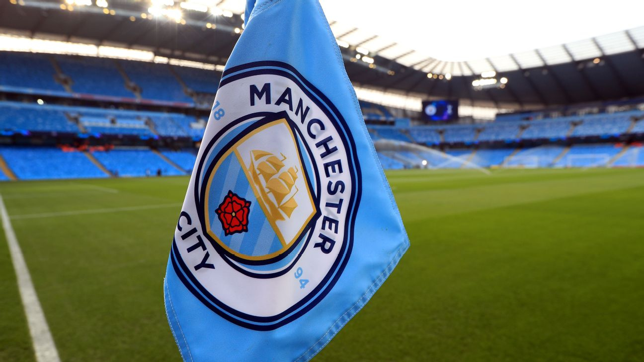 A Manchester City branded corner flag