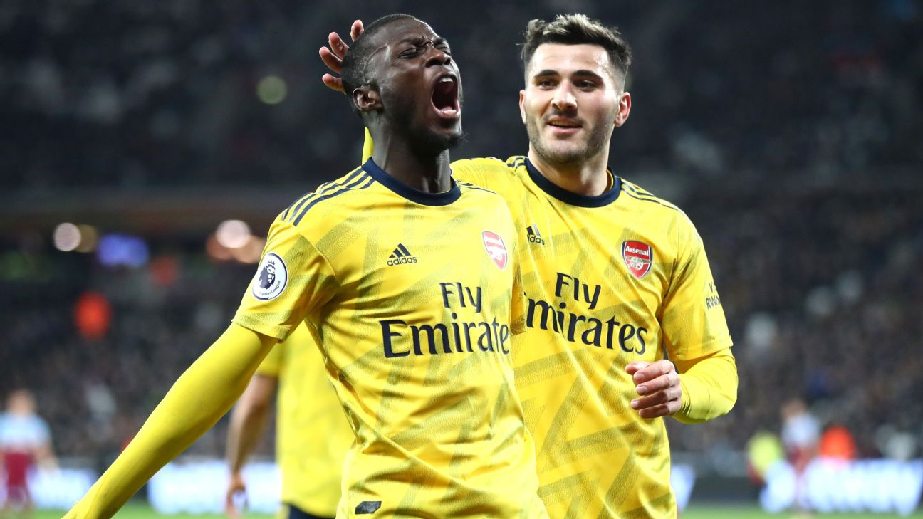 Nicolas Pepe celebrates after scoring in Arsenal's Premier League match at West Ham.