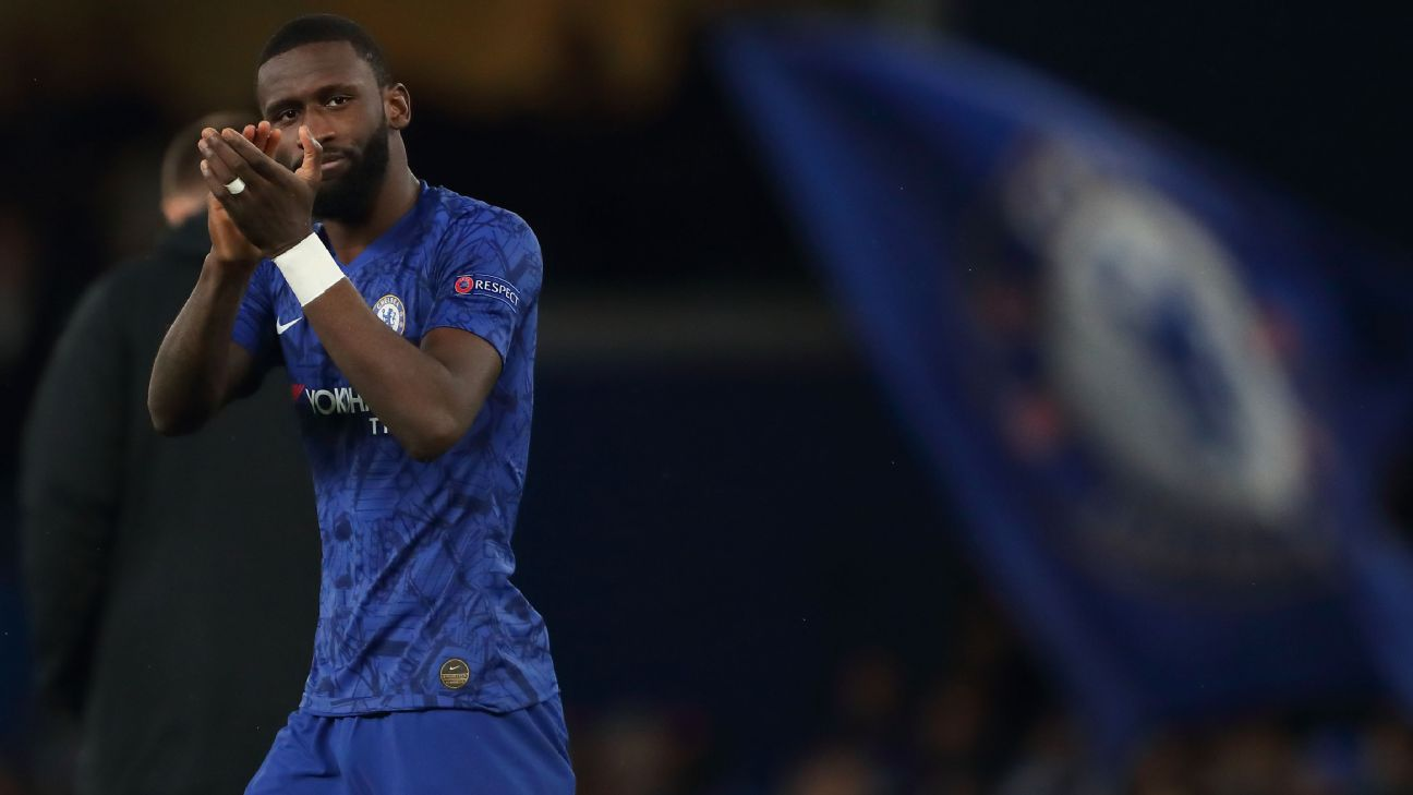 Antonio Rudiger applauds supporters following Chelsea's Champions League win over Lille.