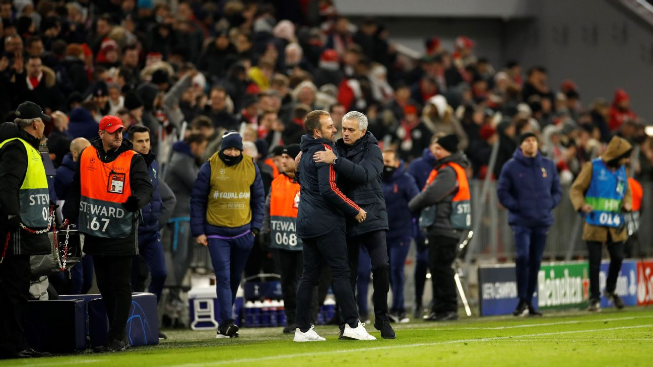 Jose Mourinho, right, of Tottenham congratulates Bayern manager Hansi Flick after their Champions League match.