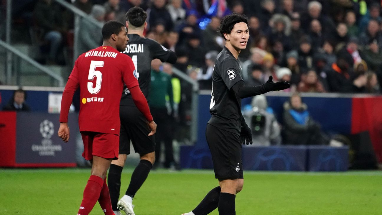 Takumi Minamino of Salzburg regret during the UEFA Champions League group E match between RB Salzburg and Liverpool FC