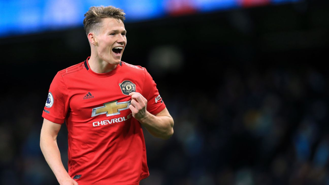 Scott McTominay celebrates during Manchester United's Premier League match against Manchester City.