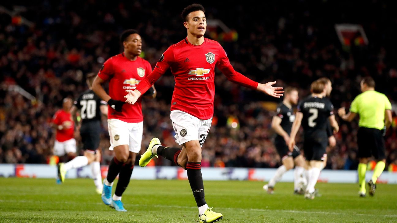 Mason Greenwood celebrates after scoring in Manchester United's Europa League match against AZ Alkmaar.