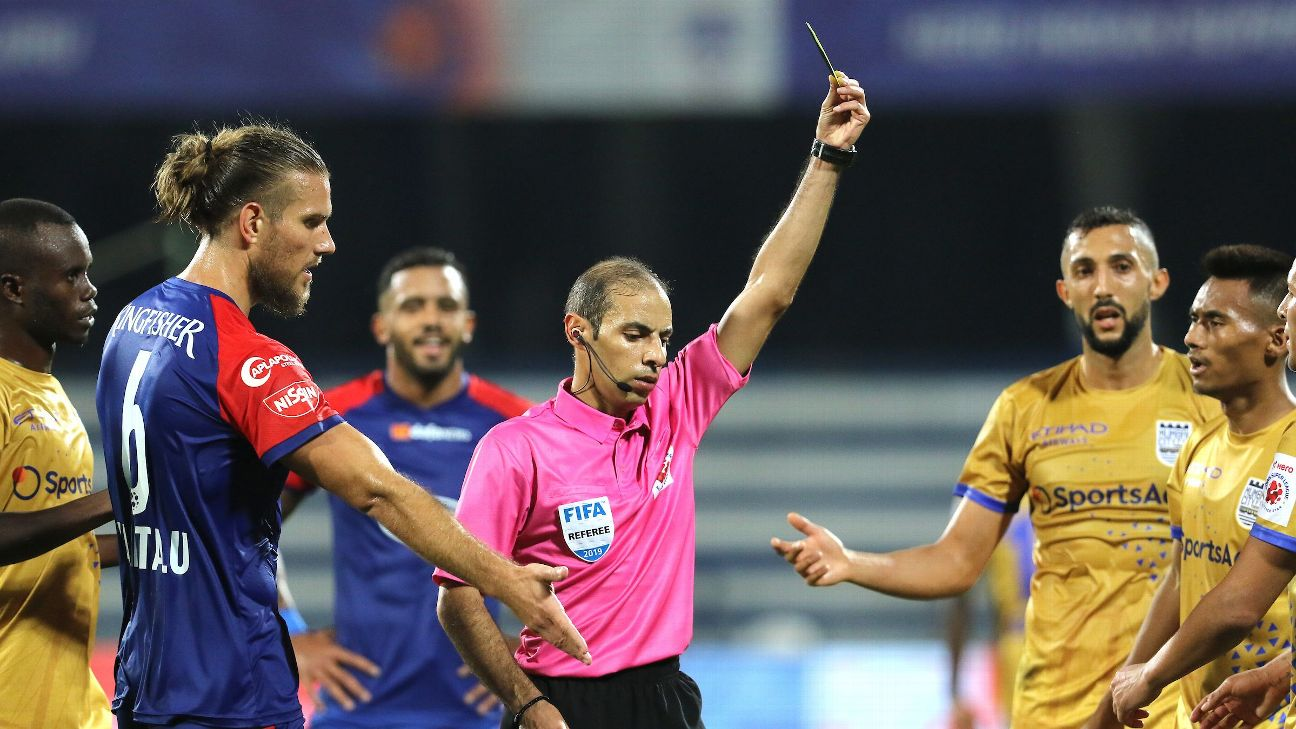 Saudi Arabian referee Turki Mohammed Al Khudayr officiates during the match between Bengaluru and Mumbai.