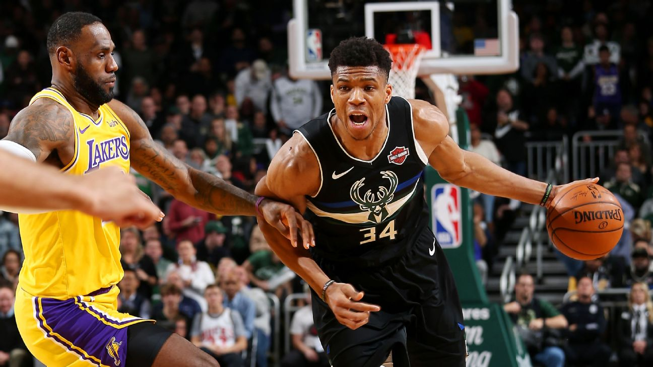 Image result for Giannis Antetokounmpo takes the crown from LeBron James in Bucks' big win over the Lakers""