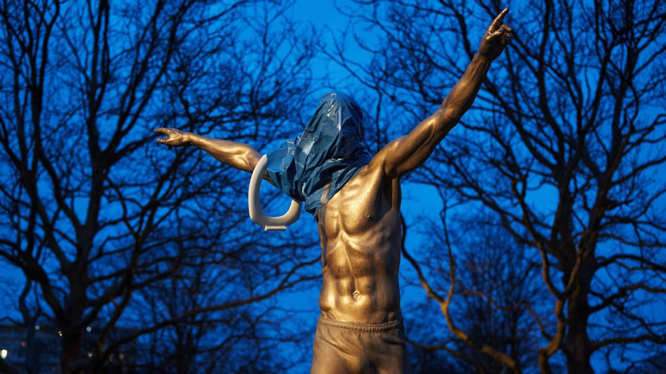 Zlatan Ibrahimovic's statue outside Malmo's stadium has been vandalised on several occasions since the 38-year-old became part-owner of Hammarby -- Malmo's rivals.