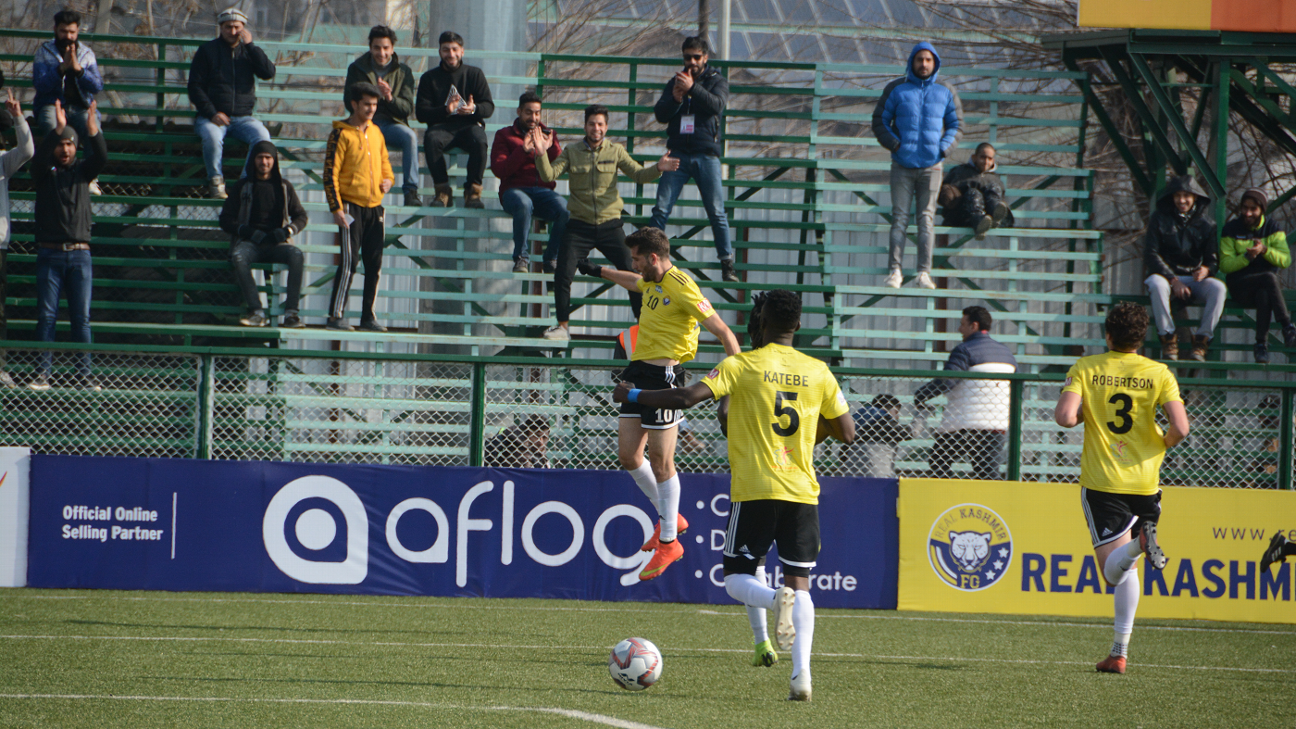 Danish Farooq (left) celebrates the opening goal for Real Kashmir during their 2-1 win against champions Chennai City.