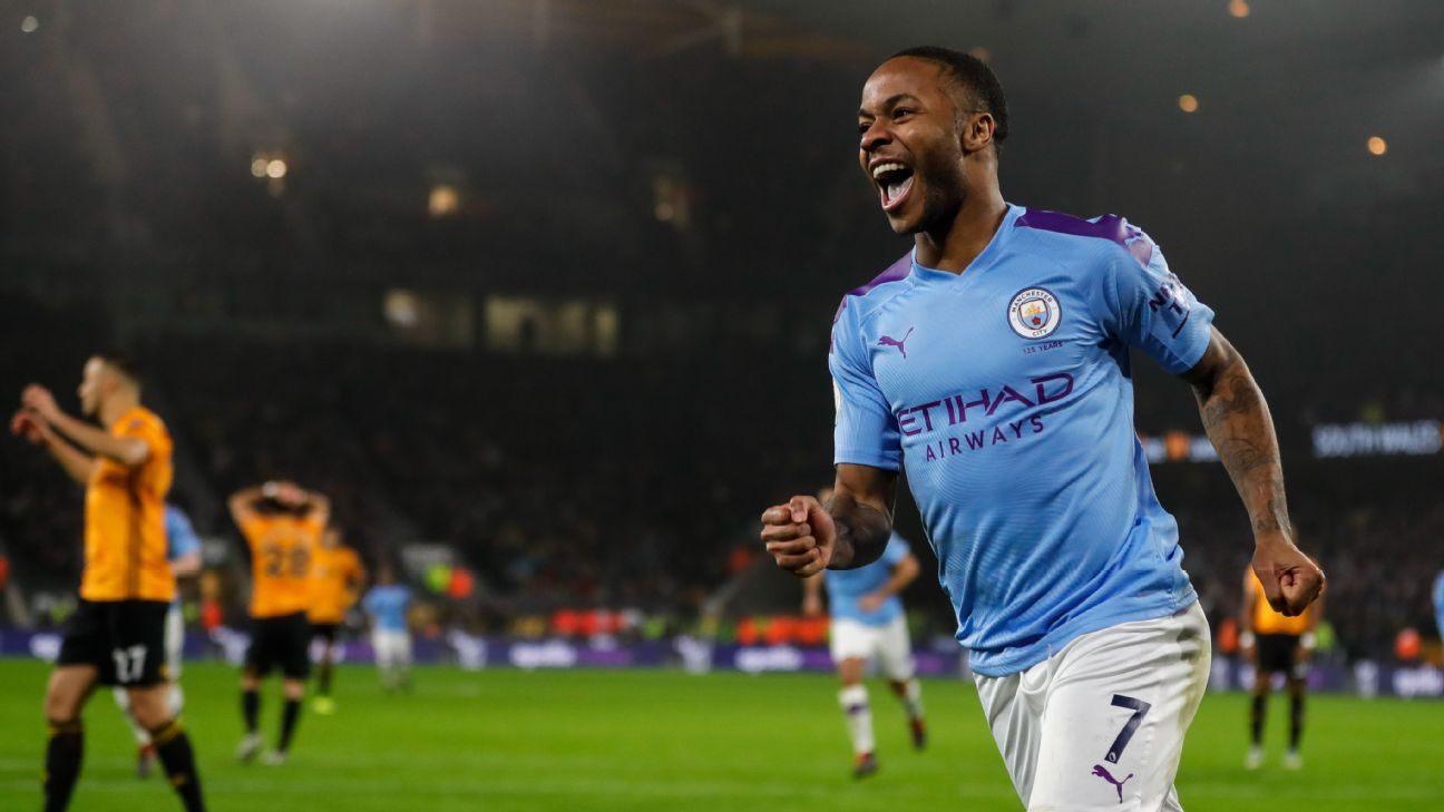 Raheem Sterling celebrates after scoring in Manchester City's Premier League match at Wolves.