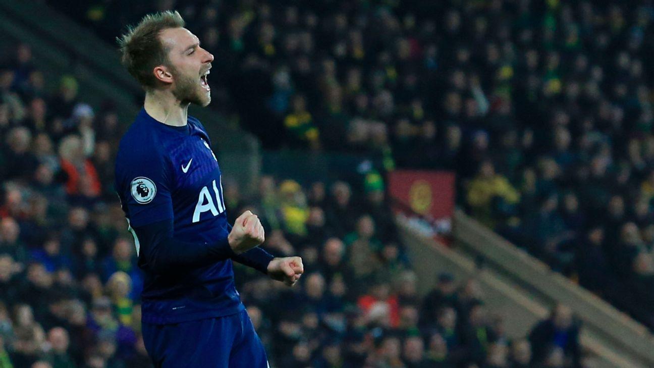 Christian Eriksen celebrates after scoring in Tottenham's Premier League draw at Norwich.
