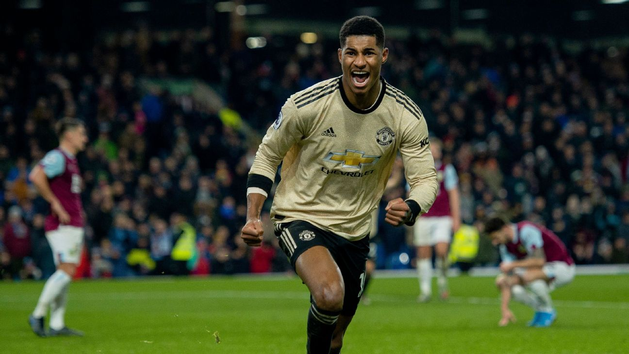 Marcus Rashford celebrates after scoring in Manchester United's Premier League win at Burnley.