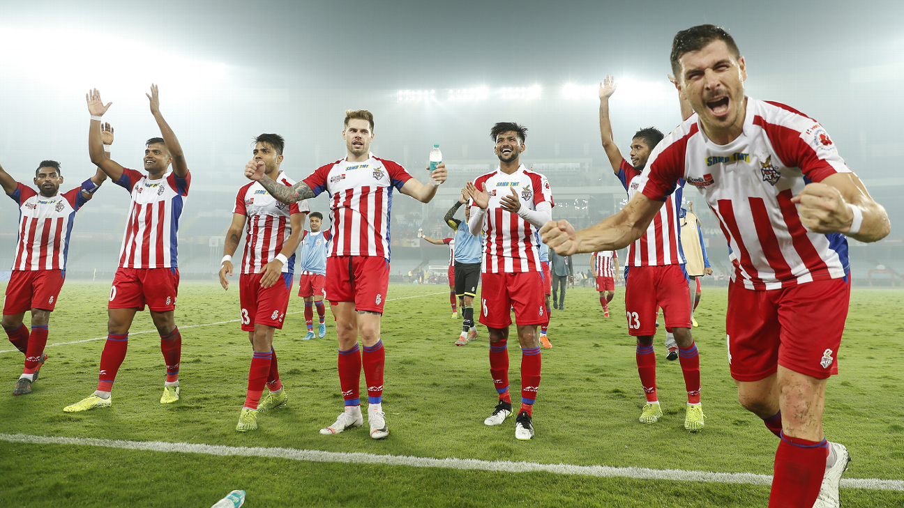 ATK players celebrate their win against Bengaluru FC at home.