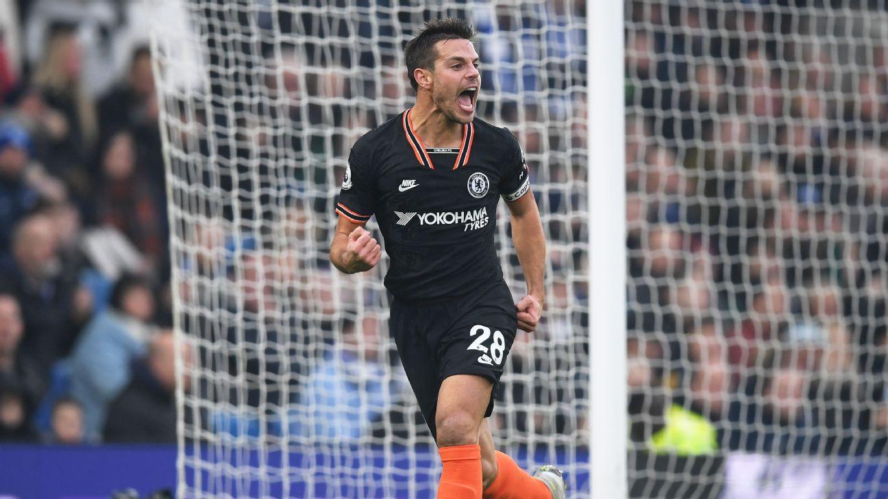 Cesar Azpilicueta of Chelsea celebrates scoring his team's first goal