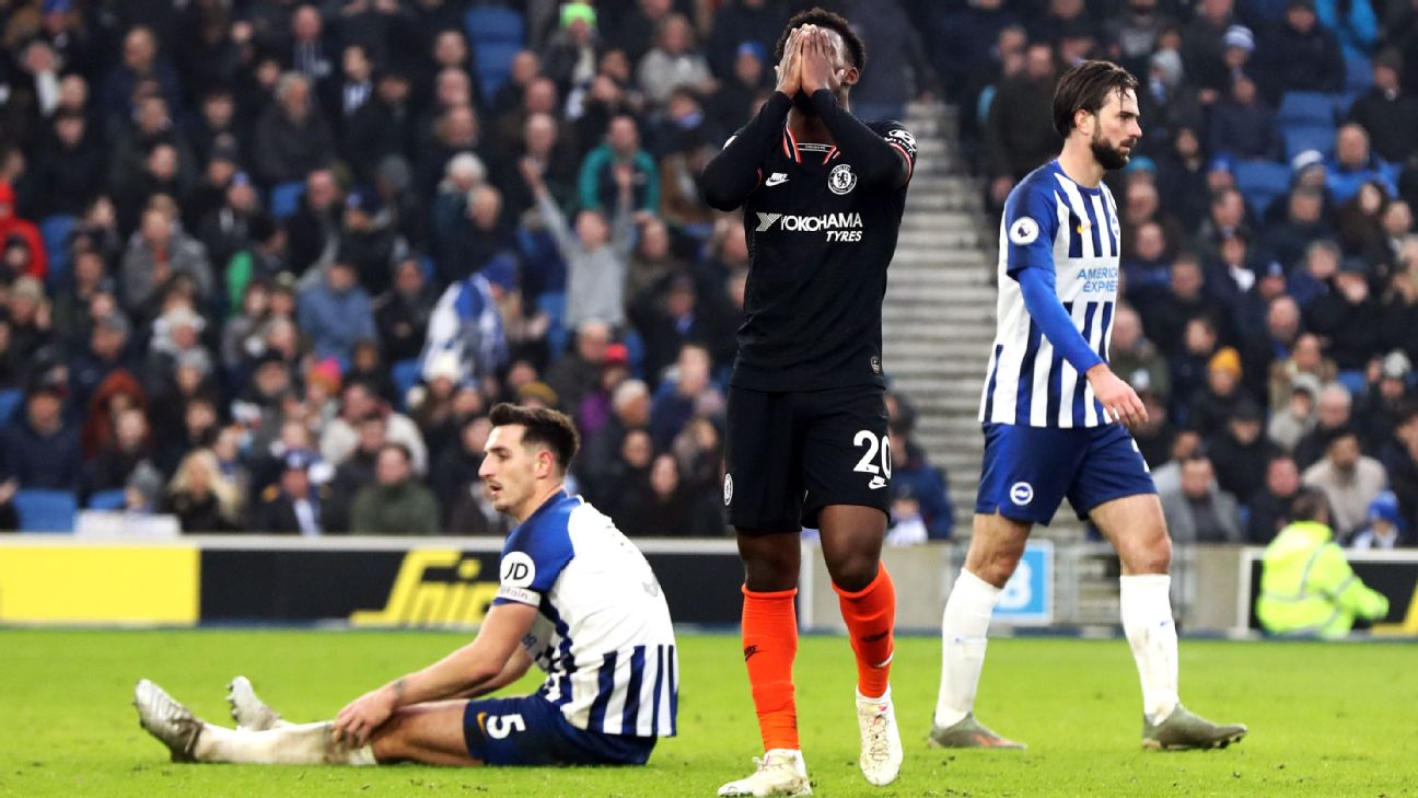 Callum Hudson-Odoi reacts during Chelsea's Premier League draw at Brighton.
