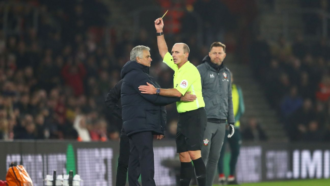 Jose Mourinho was given a yellow card after approaching members of Southampton's coaching staff and seemingly causing an argument.