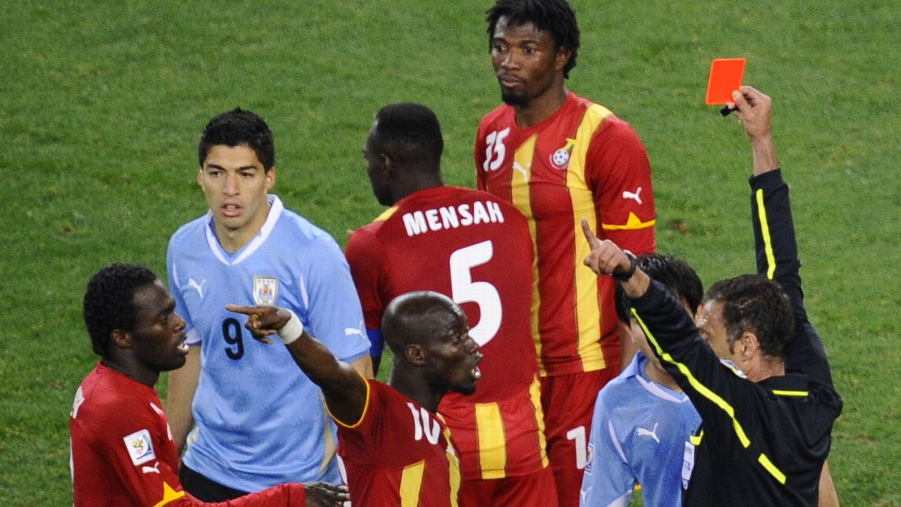 Luis Suarez was sent packing for a blatant hand ball, but Ghana could not capitalise on the resulting penalty.
