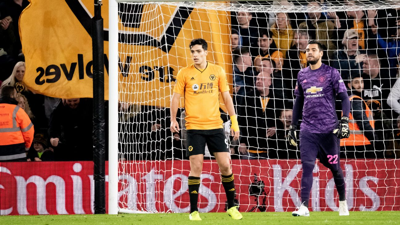 Raul Jimenez, left, came on as a second half substitute in Wolves' FA Cup draw with Manchester United.