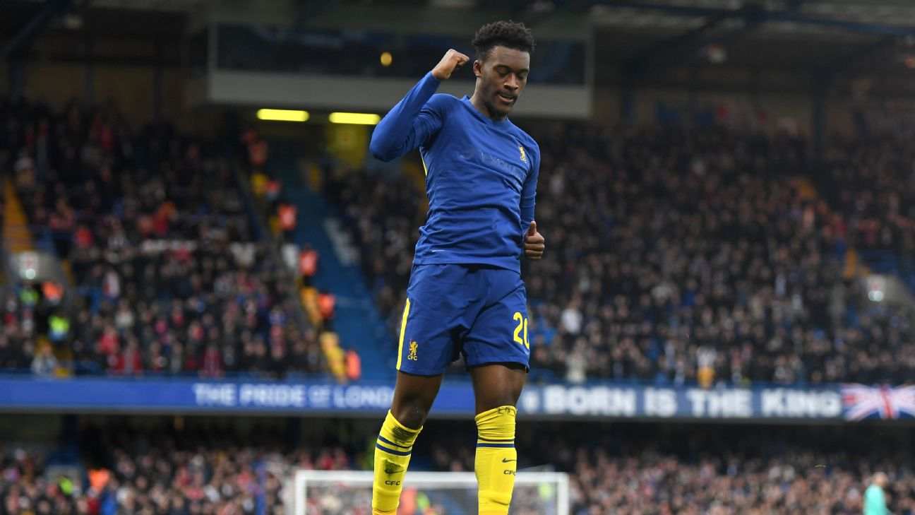 Callum Hudson-Odoi celebrates after scoring in Chelsea's FA Cup win over Nottingham Forest.