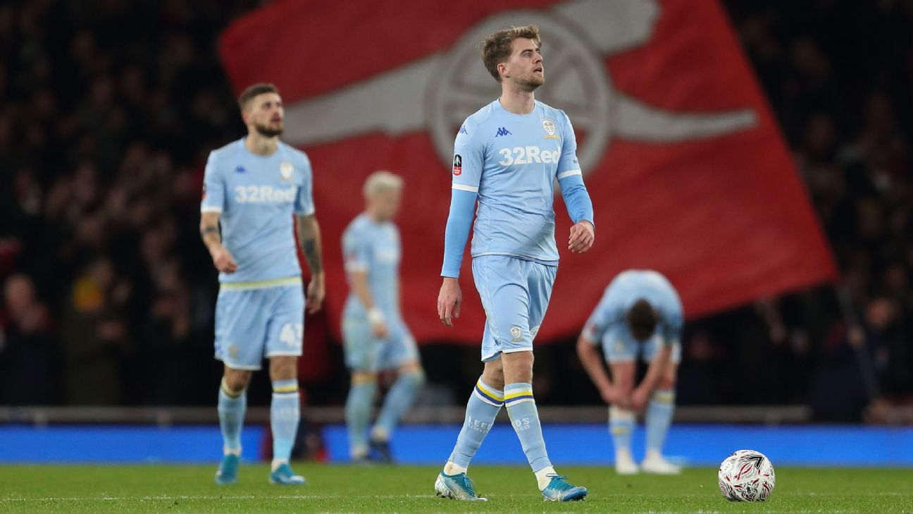 Leeds United players look on during their FA Cup loss at Arsenal.