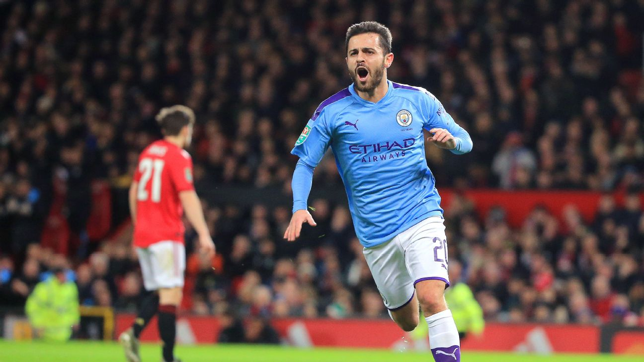 Bernardo Silva celebrates after scoring in Manchester City's Carabao Cup match against Manchester United.
