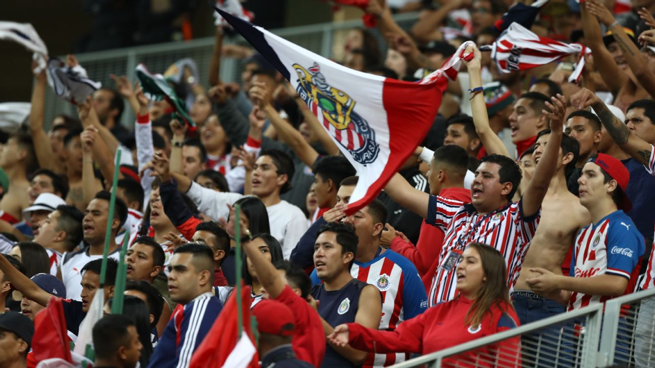 Fans of Chivas support their team in the stands, during the 18th round match between Chivas and Queretaro