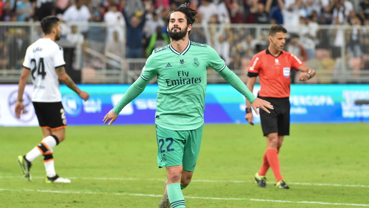 Isco celebrates after scoring in Real Madrid's Spanish Super Cup win over Valencia.