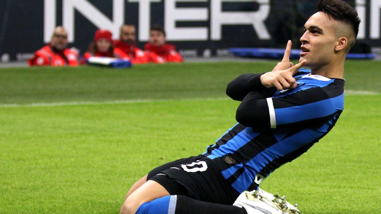 Inter Milan forward Lautaro Martinez celebrates after scoring a goal against Atalanta.