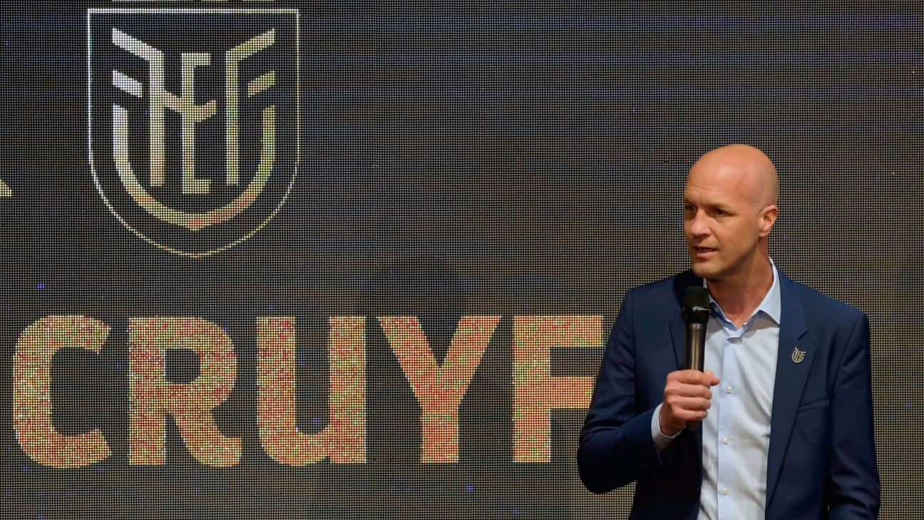 The new coach of Ecuador's national football team, Dutchman Jordi Cruyff, speaks during his presentation at the headquarters of the Ecuadorean Football Federation in Quito