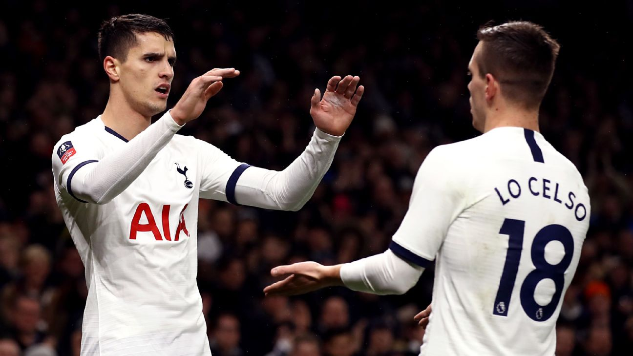 Erik Lamela and Giovani Lo Celso celebrate during Tottenham's FA Cup third-round win over Middlesbrough.
