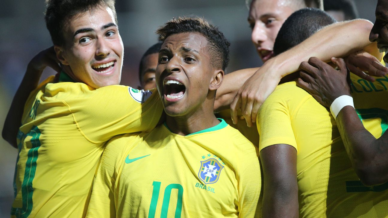 Rodrygo celebrates during Brazil's South American U20 Championship match against Venezuela.