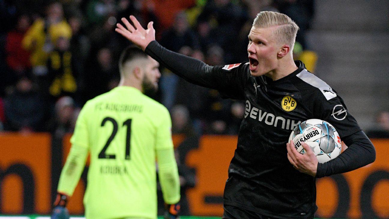 Dortmund's Erling Haaland cheers