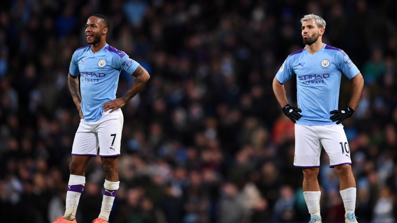 Raheem Sterling and Sergio Aguero of Manchester City look dejected