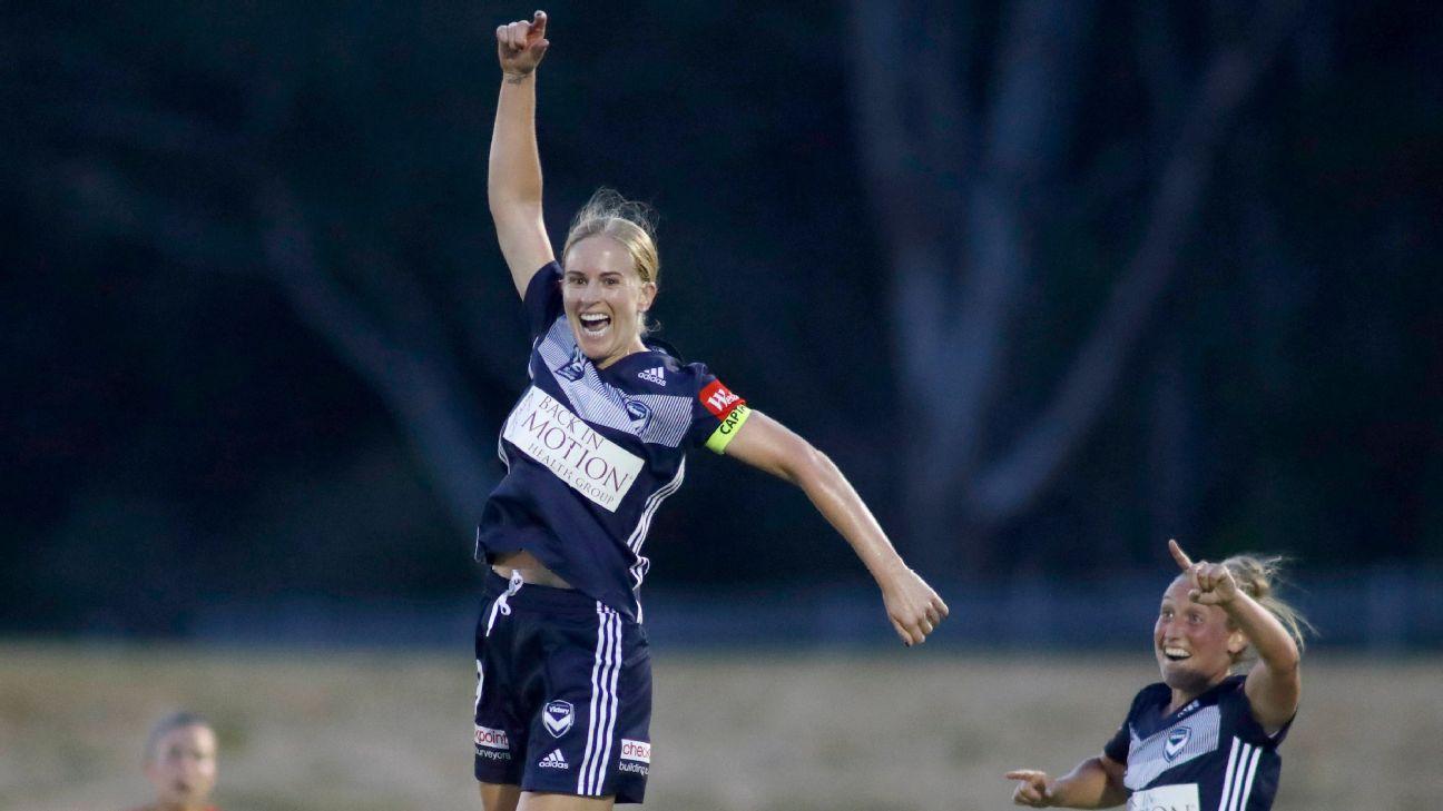 Natasha Dowie of Victory celebrates a goal